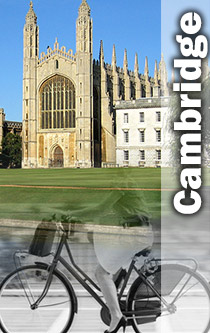 Kings college and cycle in Cambridge montage
