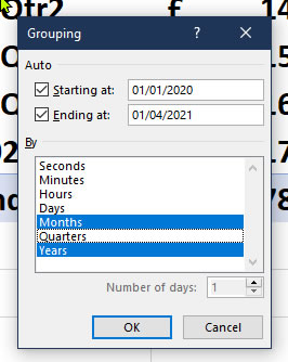 Date Grouping Selection in a Pivot Table