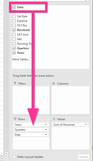 Date Hierarchy in a Pivot Table