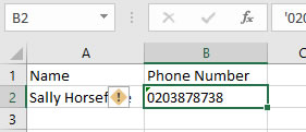 Excel Phone Number adding the apostrophe