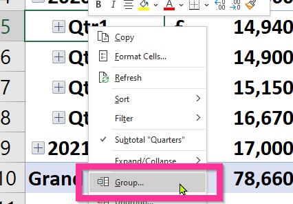 Excel Pivot Table Date Grouping