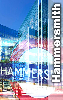 Hammersmith new glass building and tube sign montage