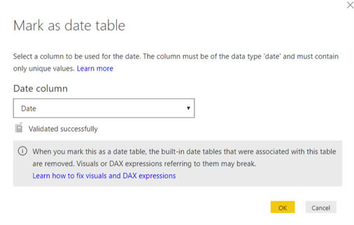 Mark as Date Table in Power BI