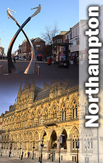 Northampton buildings and modern structure montage