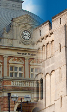Programming JavaScript Training Course Beginners training Norwich - train station and castle