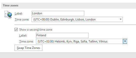 Outlook time zone options