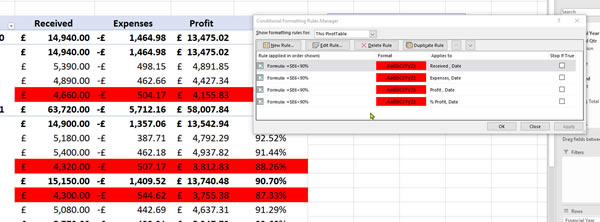 How to add Conditional Formatting to a Pivot Table