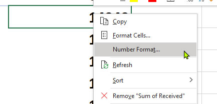 Pivot Table Number Formatting