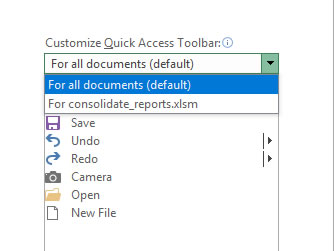 Choose local document for quick access toolbar