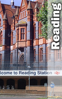 Reading town hall with train station montage