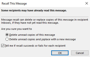 Recall this message options