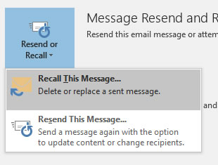 Recall this message drop down menu