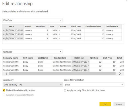 relationship cardinality in power bi