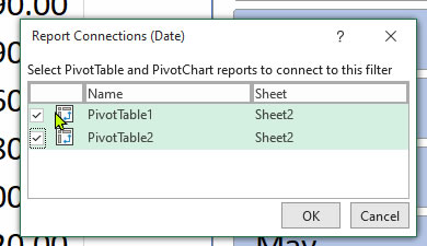 Report Connections box to control two pivot tables