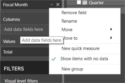 Show items with no data power bi