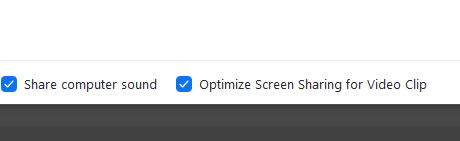 Optimise screen for video sharing